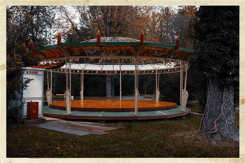 artistic photography fine art photograph of carousel in vintage colors